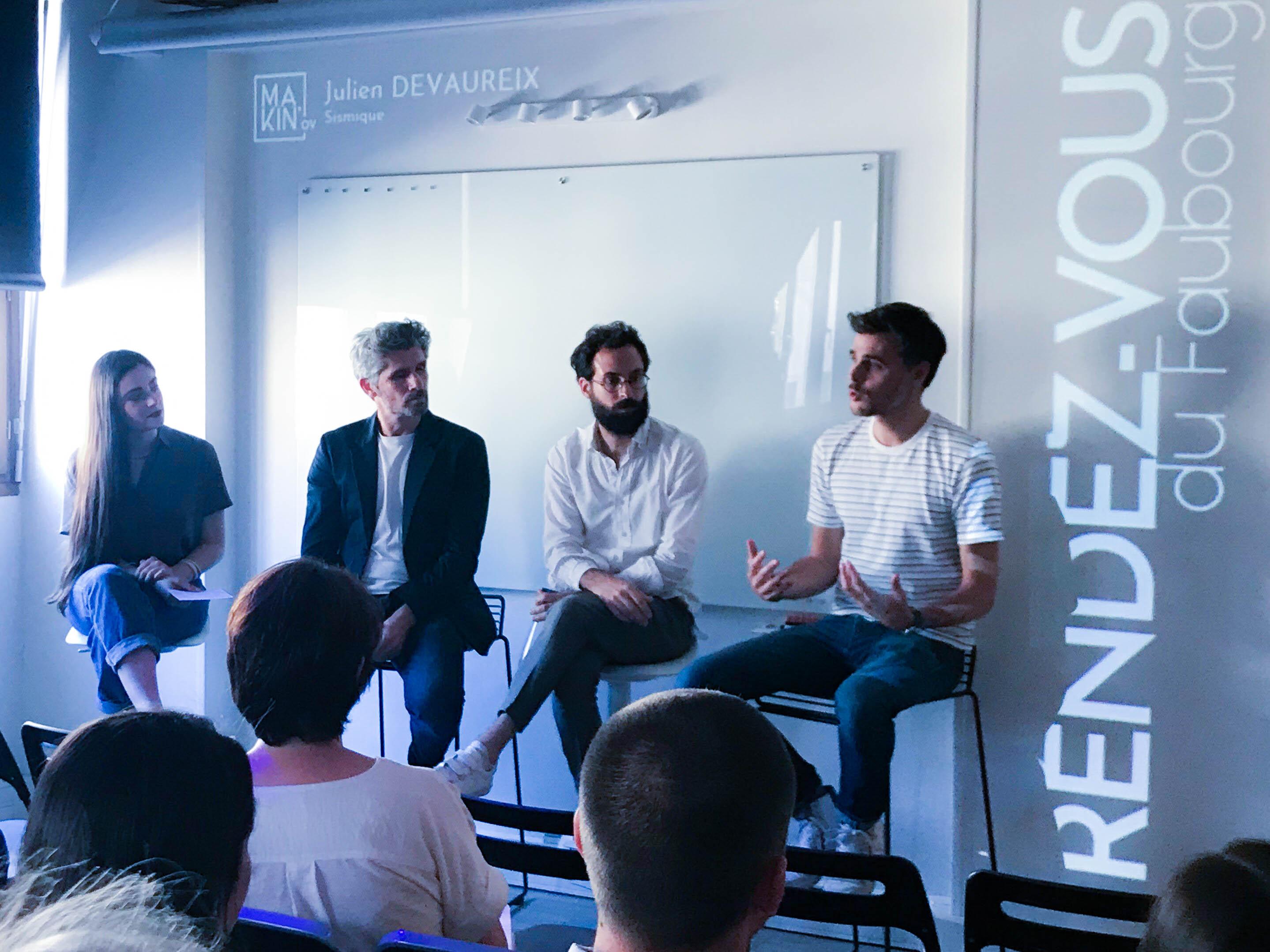 Le panel d'intervenants composé, de droite à gauche : Julien Devaureix, Arnaud Le Cat, Nicolas Pasquet et Pauline Lansac